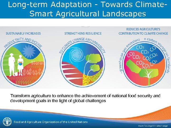 Long-term Adaptation - Towards Climate. Smart Agricultural Landscapes Transform agriculture to enhance the achievement