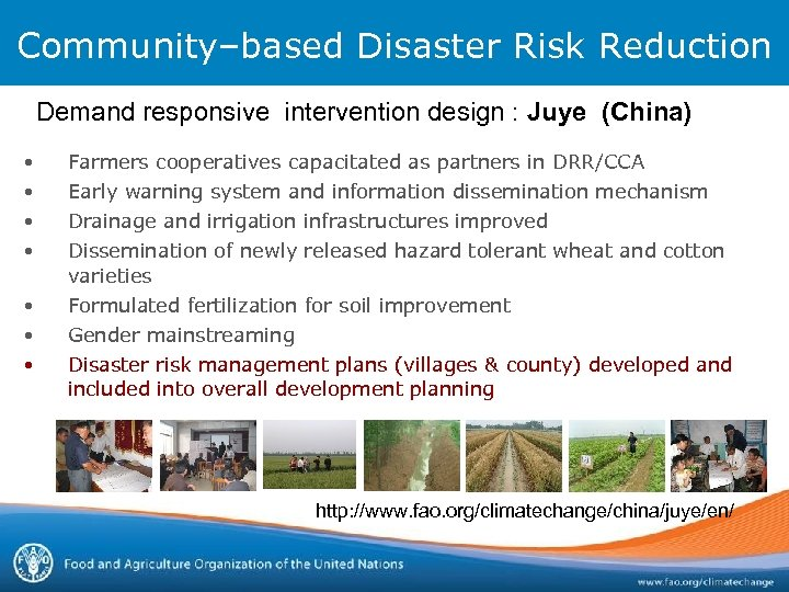 Community–based Disaster Risk Reduction Demand responsive intervention design : Juye (China) • • Farmers
