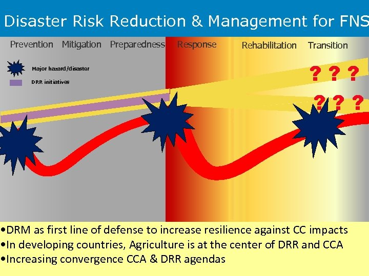 Disaster Risk Reduction & Management for FNS Prevention Mitigation Preparedness Major hazard/disaster DRR initiatives