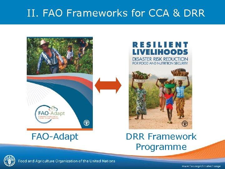 II. FAO Frameworks for CCA & DRR FAO-Adapt DRR Framework Programme