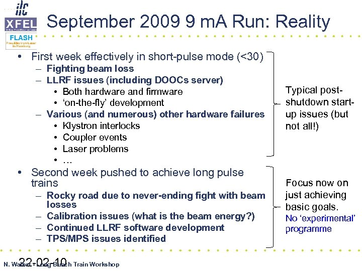 September 2009 9 m. A Run: Reality • First week effectively in short-pulse mode