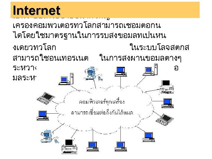 INTERNET )อนเทอรเนต ) Internet เปนระบบเครอขายขนาดใหญ เครองคอมพวเตอรทวโลกสามารถเชอมตอกน ไดโดยใชมาตรฐานในการรบสงขอมลทเปนหน งเดยวทวโลก ในระบบโลจสตกส สามารถใชอนเทอรเนต ในการสงผานขอมลตางๆ ระหวางกจกรรมเพอประสานงานและแลกเปลยนขอ มลระหวางกนอยางเปดเผย