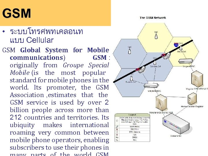 GSM • ระบบโทรศพทเคลอนท แบบ Cellular GSM Global System for Mobile communications) GSM : originally