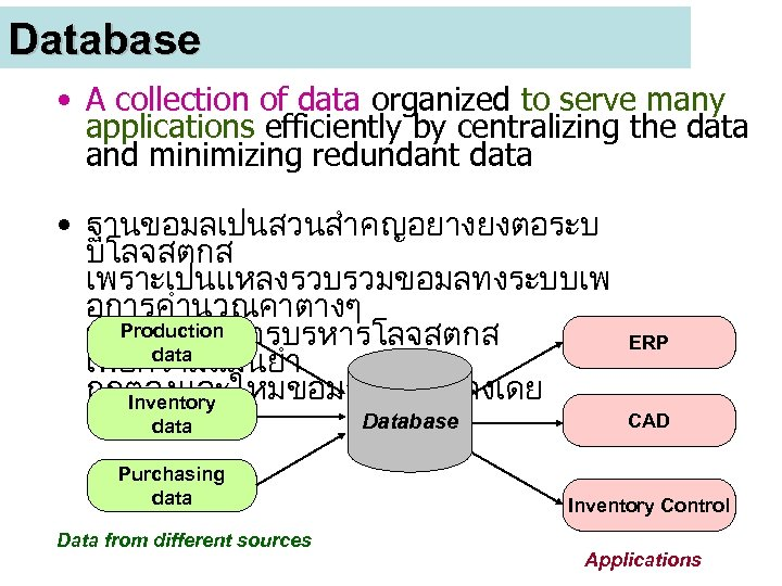 Database • A collection of data organized to serve many applications efficiently by centralizing
