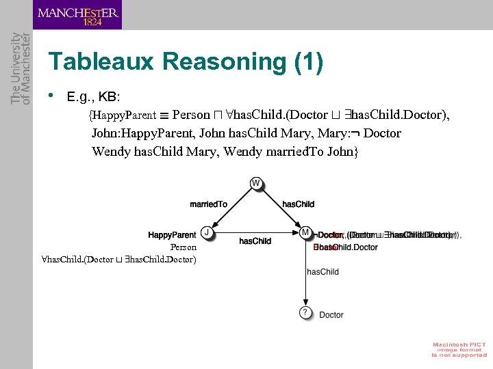 Tableaux Reasoning (1) • E. g. , KB: {Happy. Parent ´ Person u 8