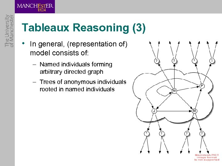 Tableaux Reasoning (3) • In general, (representation of) model consists of: – Named individuals