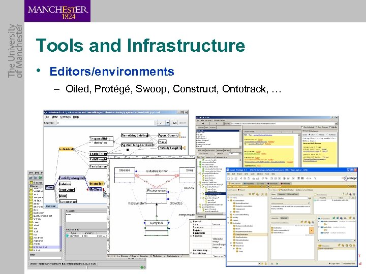Tools and Infrastructure • Editors/environments – Oiled, Protégé, Swoop, Construct, Ontotrack, …