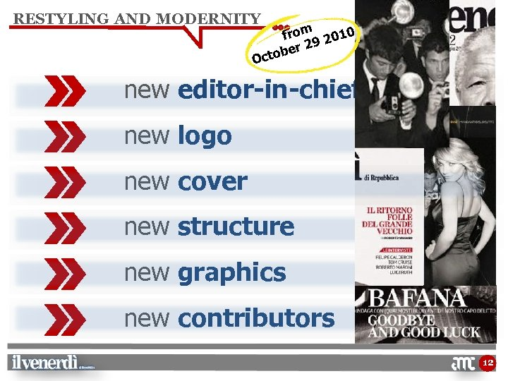 RESTYLING AND MODERNITY from 2010 29 ber Octo new editor-in-chief new logo new cover