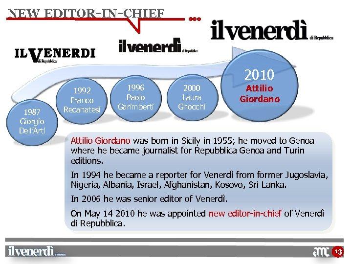 NEW EDITOR-IN-CHIEF 2010 1987 Giorgio Dell'Arti 1992 Franco Recanatesi 1996 Paolo Garimberti 2000 Laura