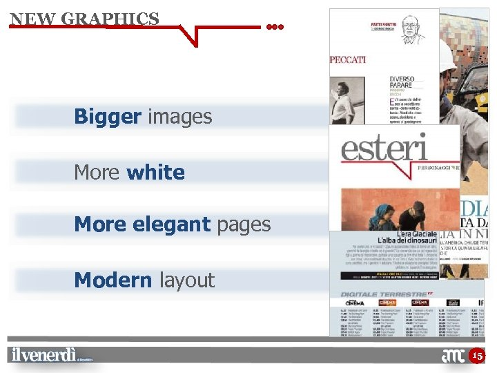 NEW GRAPHICS Bigger images More white More elegant pages Modern layout 15