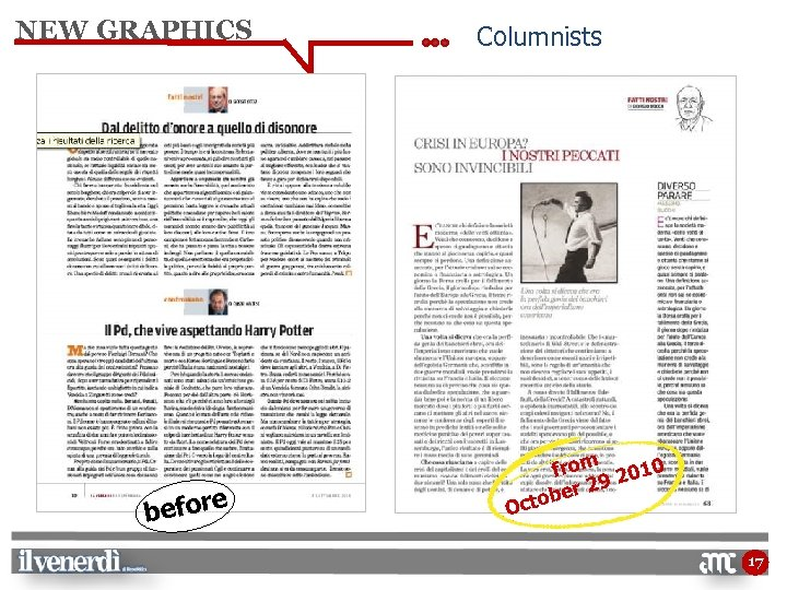 NEW GRAPHICS e befor Columnists O from 2010 9 er 2 ctob 17