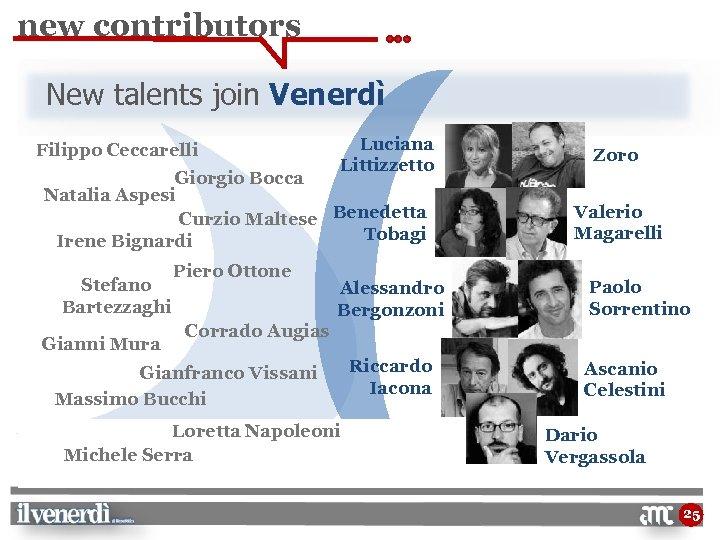 new contributors New talents join Venerdì Filippo Ceccarelli Luciana Littizzetto Giorgio Bocca Natalia Aspesi