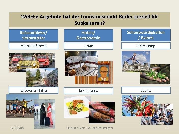 Welche Angebote hat der Tourismusmarkt Berlin speziell für Subkulturen? Reiseanbieter/ Veranstalter Hotels/ Gastronomie Sehenswürdigkeiten