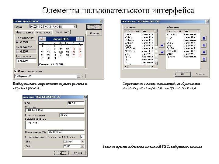 Элементы пользовательского интерфейса Выбор каскада, определение периода расчета и варианта расчета Определение состава показателей,