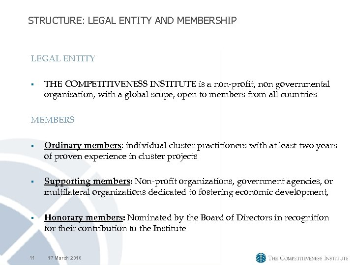 STRUCTURE: LEGAL ENTITY AND MEMBERSHIP LEGAL ENTITY § THE COMPETITIVENESS INSTITUTE is a non-profit,