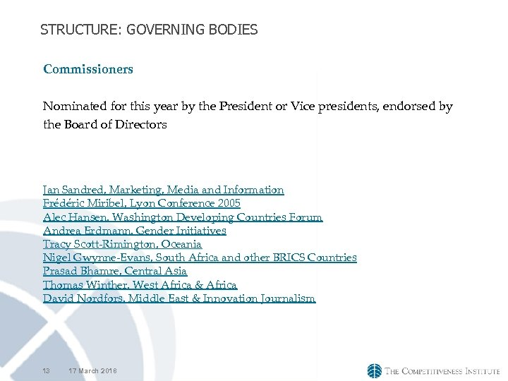 STRUCTURE: GOVERNING BODIES Commissioners Nominated for this year by the President or Vice presidents,