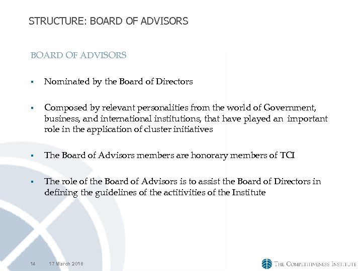 STRUCTURE: BOARD OF ADVISORS § § 14 Nominated by the Board of Directors Composed