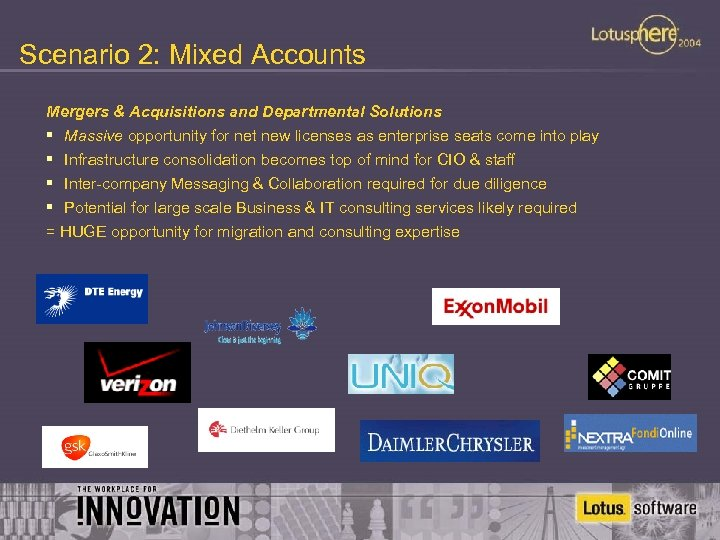 Scenario 2: Mixed Accounts Mergers & Acquisitions and Departmental Solutions § Massive opportunity for