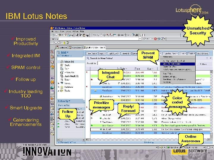 IBM Lotus Notes Unmatched Security ü Improved Productivity Prevent SPAM ü Integrated IM ü