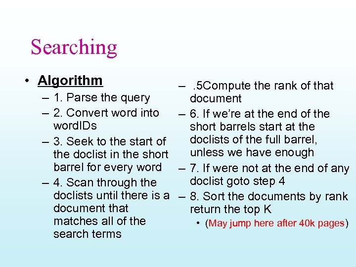 Searching • Algorithm – . 5 Compute the rank of that – 1. Parse