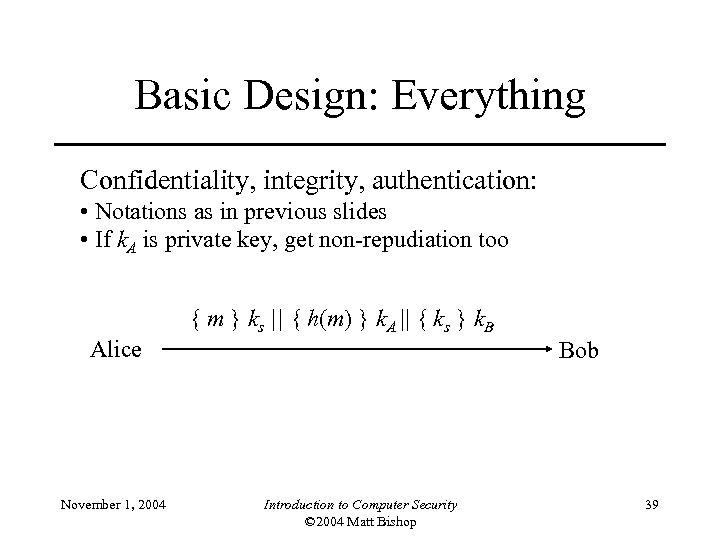 Basic Design: Everything Confidentiality, integrity, authentication: • Notations as in previous slides • If