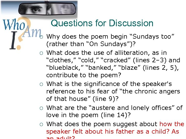 """Questions for Discussion ¡ ¡ ¡ 25 Why does the poem begin """"Sundays too"""""""