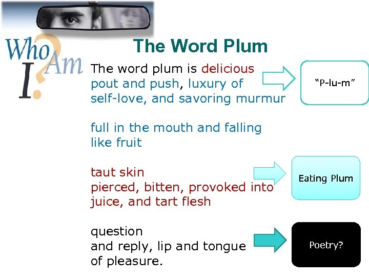 The Word Plum The word plum is delicious pout and push, luxury of self-love,