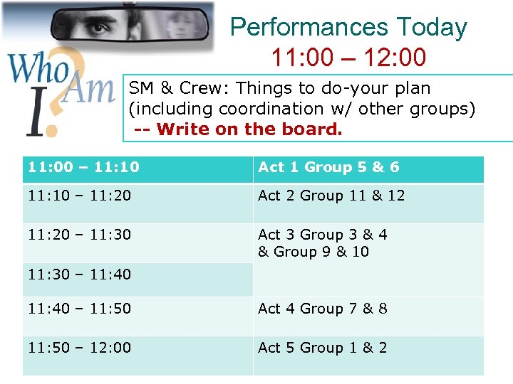 Performances Today 11: 00 – 12: 00 SM & Crew: Things to do-your plan