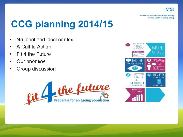 CCG planning 2014/15 • • • National and local context A Call to Action