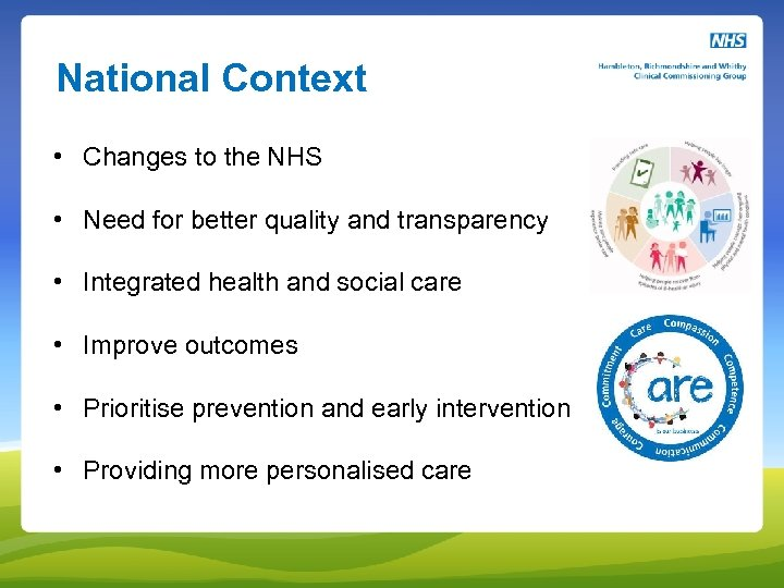 National Context • Changes to the NHS • Need for better quality and transparency