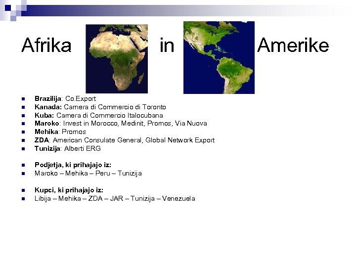 Afrika n n n in Brazilija: Co. Export Kanada: Camera di Commercio di Toronto