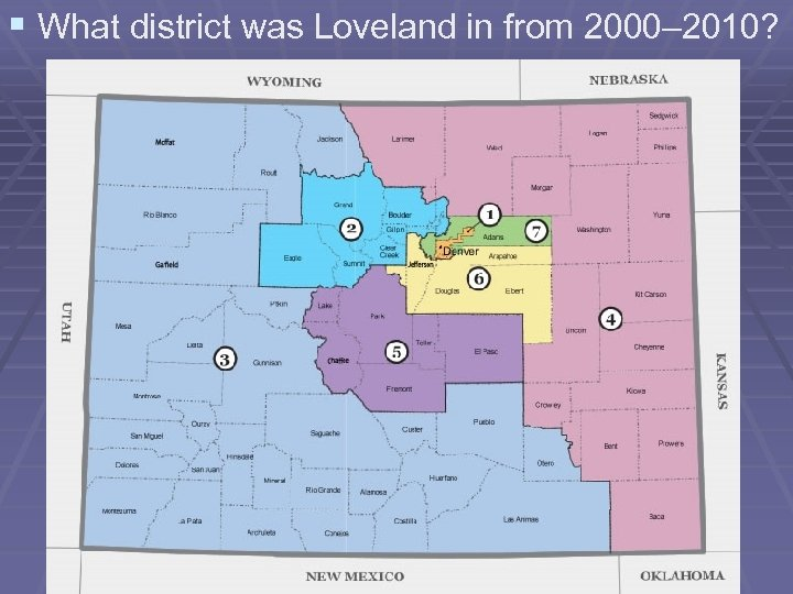 § What district was Loveland in from 2000– 2010?