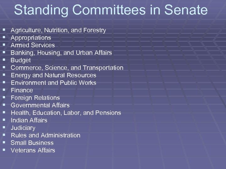Standing Committees in Senate § § § § § Agriculture, Nutrition, and Forestry Appropriations