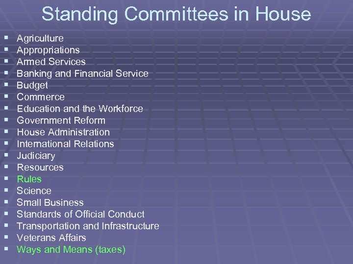 Standing Committees in House § § § § § Agriculture Appropriations Armed Services Banking