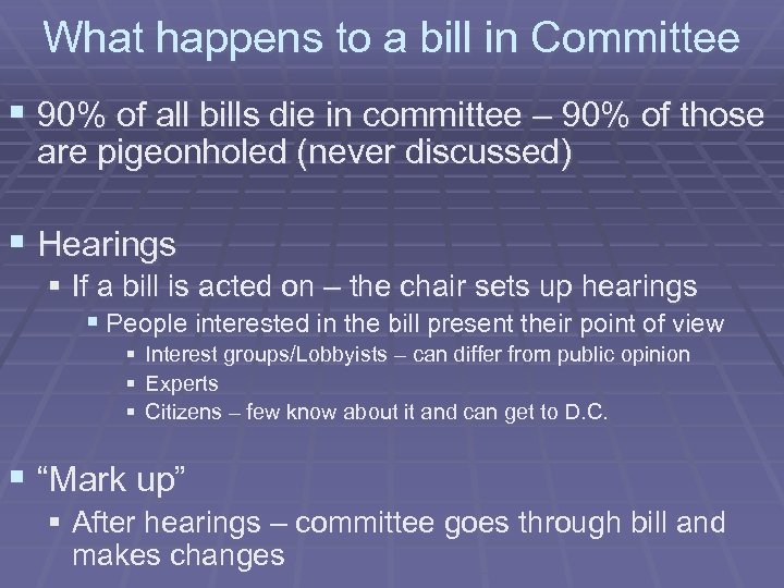 What happens to a bill in Committee § 90% of all bills die in