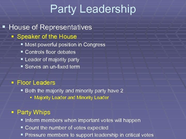Party Leadership § House of Representatives § Speaker of the House § Most powerful