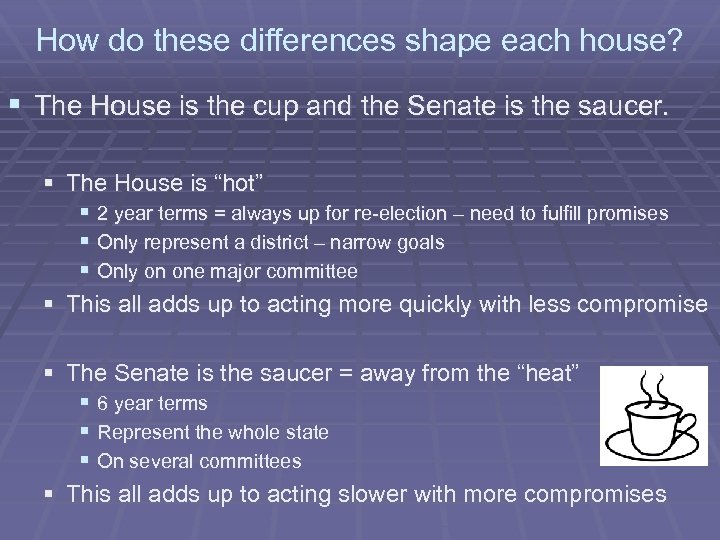 How do these differences shape each house? § The House is the cup and
