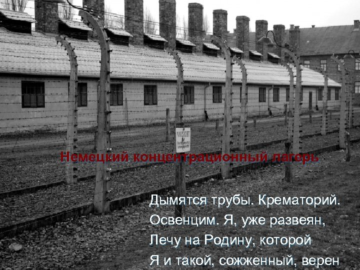 Немецкий концентрационный лагерь Дымятся трубы. Крематорий. Освенцим. Я, уже развеян, Лечу на Родину, которой