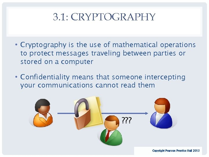 3. 1: CRYPTOGRAPHY • Cryptography is the use of mathematical operations to protect messages