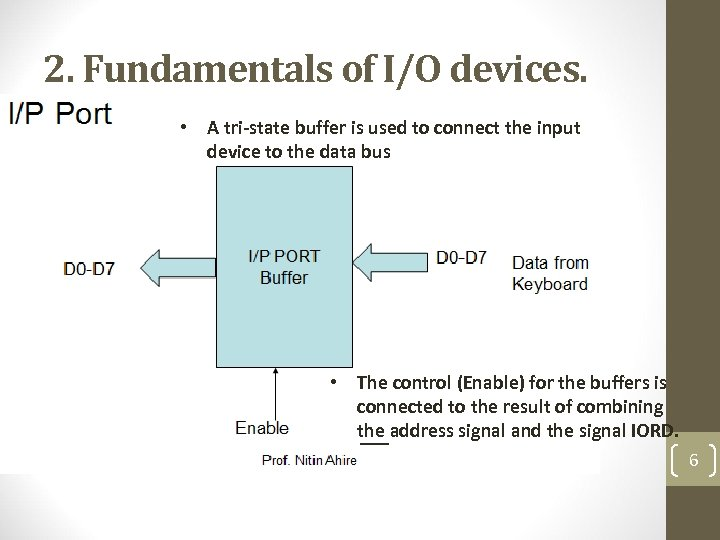 2. Fundamentals of I/O devices. • A tri-state buffer is used to connect the