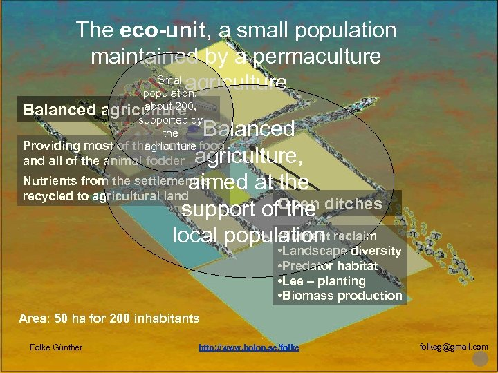 The eco-unit, a small population maintained by a permaculture Small agriculture population, about 200,