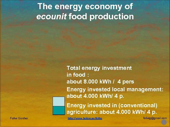 The energy economy of ecounit food production Total energy investment in food : about