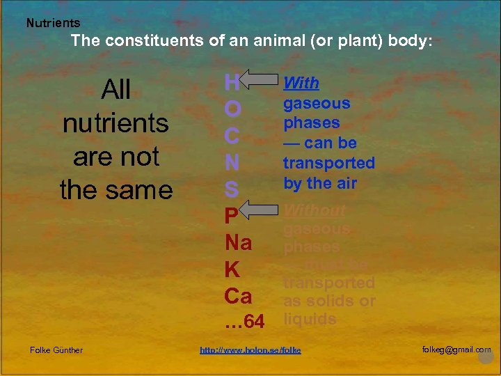 Nutrients The constituents of an animal (or plant) body: All nutrients are not the
