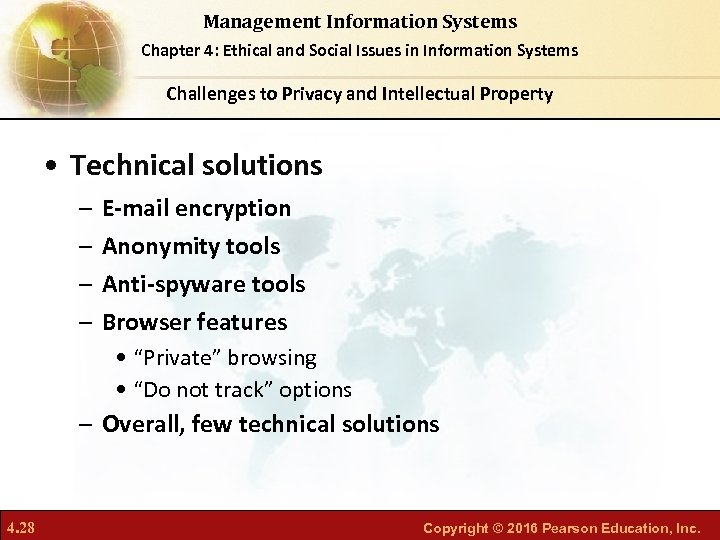 Management Information Systems Chapter 4: Ethical and Social Issues in Information Systems Challenges to