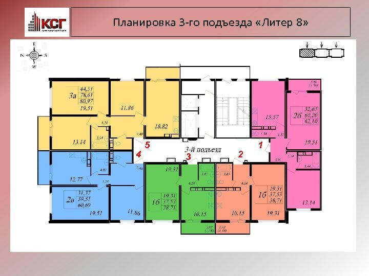 Планировка 3 -го подъезда «Литер 8» 4 5 3 2 1