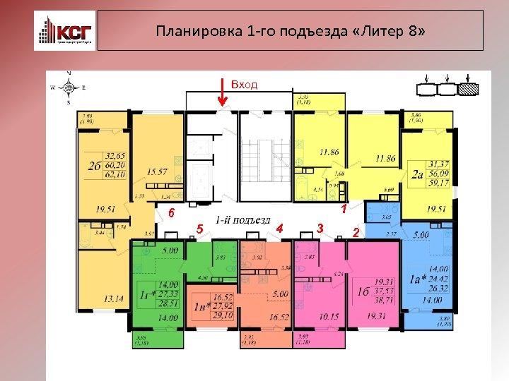 Планировка 1 -го подъезда «Литер 8» Вход 1 6 5 4 3 2