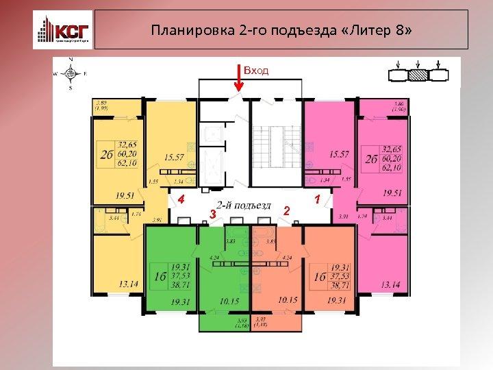 Планировка 2 -го подъезда «Литер 8» Вход 4 3 2 1