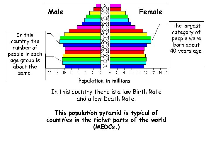 Male Female The largest category of people were born about 40 years ago. In