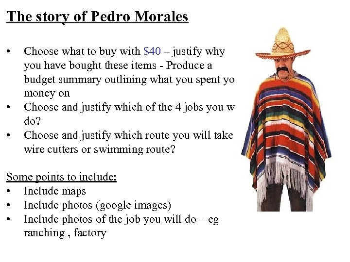 The story of Pedro Morales • • • Choose what to buy with $40