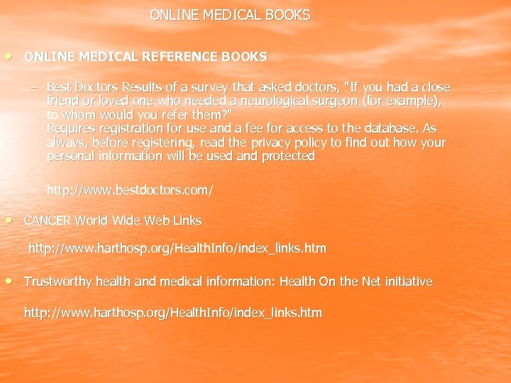 ONLINE MEDICAL BOOKS • ONLINE MEDICAL REFERENCE BOOKS – Best Doctors Results of a